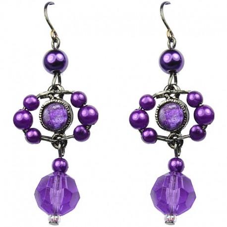 Chic Fashion Jewellery, Purple Rhinestone Bead Costume Pearl Drop Earrings