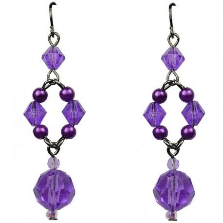 Chic Costume Jewellery, Purple Bead Pearl Fashion Drop Earrings