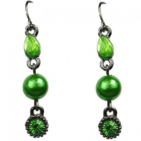 Chic Costume Jewellery, Green Rhinestone Pearl Fashion Drop Earrings