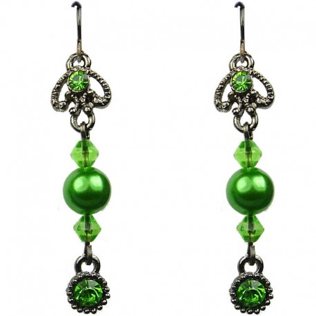 Chic Costume Jewellery, Green Diamante Pearl Fashion Drop Earrings
