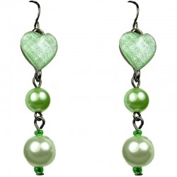 Chic Fashion Jewellery, Green Heart Rhinestone Costume Pearl Drop Earrings