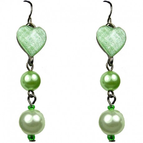Chic Fashion Jewellery, Green Heart Rhinestone Costume Pearl Drop Earrings