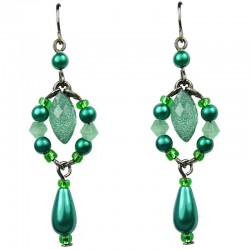 Green Teardrop Rhinestone Pearl Drop Earrings