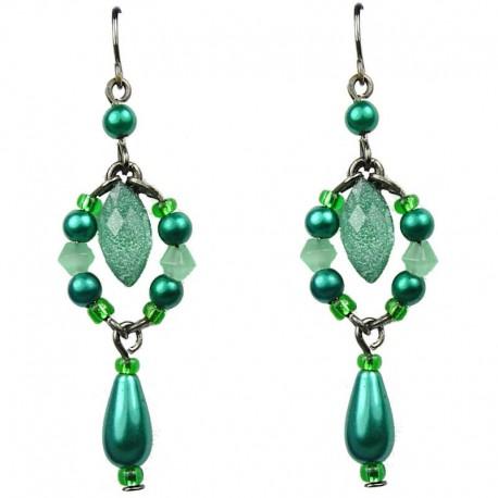 Chic Costume Jewellery Green Teardrop Rhinestone Fashion Pearl Drop Earrings
