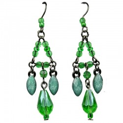 Green Teardrop Rhinestone Bead Chandelier Drop Earrings