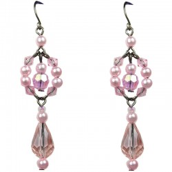 Chic Fashion Jewellery, Pink Teardrop Dancing Bead Costume Drop Earrings