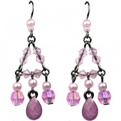 Pink Teardrop Rhinestone Bead Chandelier Drop Earrings