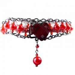 Chic Fashion Jewellery, Red Heart Rhinestone Costume Pearl Bracelet