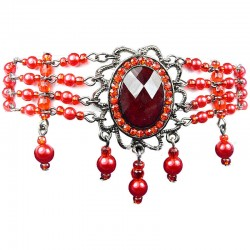 Statement Costume Jewellery, Red Oval Rhinestone Waterfall Pearl Bead Fashion Bracelet