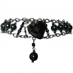 Chic Costume Jewellery, Black Heart Rhinestone Fashion Pearl Bracelet