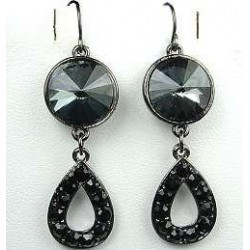 Smokey Grey Rhinestone Black Diamante Open Teardrop Hook Drop Earrings