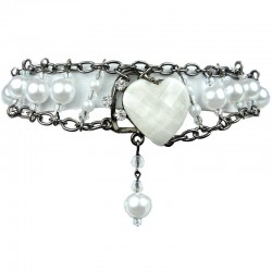 Chic Fashion Jewellery, White heart Rhinestone Costume Pearl Bracelet