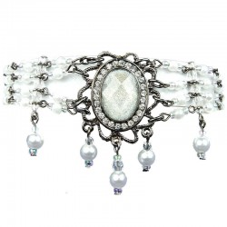 Statement Costume Jewellery, White Oval Rhinestone Waterfall Pearl Bead Fashion Bracelet