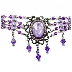 Statement Costume Jewellery, Purple Oval Rhinestone Waterfall Pearl Bead Fashion Bracelet