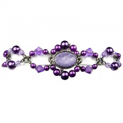 Purple Oval Rhinestone Bead Pearl Fashion Bracelet