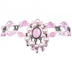 Women Costume Jewellery, Pink Oval Rhinestone Dancing Bead Pearl Charm Bracelet