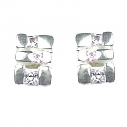 Pink & Purple CZ Silver Rectangle Stud Earrings