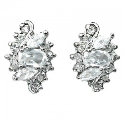 Clear CZ Crystal Swan Lake Stud Earrings