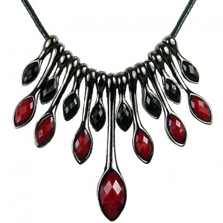 Dressy Costuem Jewellery, Burgundy & Black Teardrop Rhinestone Cascade Fashion Statement Cord Necklace