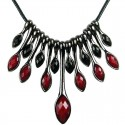 Burgundy & Black Teardrop Rhinestone Cascade Statement Cord Necklace
