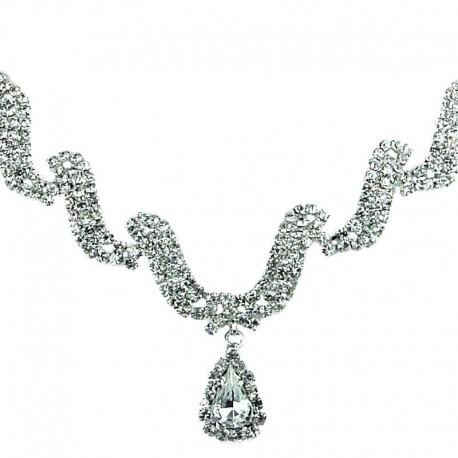 Bridal Jewellery, Wedding Fashion Necklace, Clear Diamante Wave Dangling Teardrop Necklace