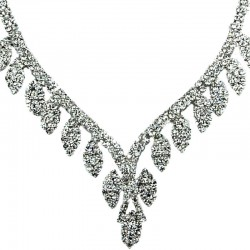 Bridal Costume Jewellery, Wedding Gift, Fashion Clear Diamante Graduated Pave Teardrop Necklace