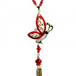 Red Flying Butterfly Tassel Gold Long Necklace