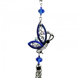 Royal Blue Flying Butterfly Tassel Long Necklace