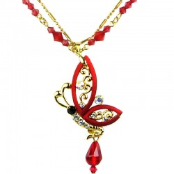 Women fashion jewellery, wedding gift, Red Flying Butterfly Gold Costume Necklace