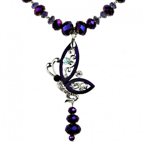 Women Costume Jewellery, Purple Flying Butterfly Fashion Necklace