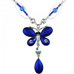 Royal Blue Butterfly Necklace