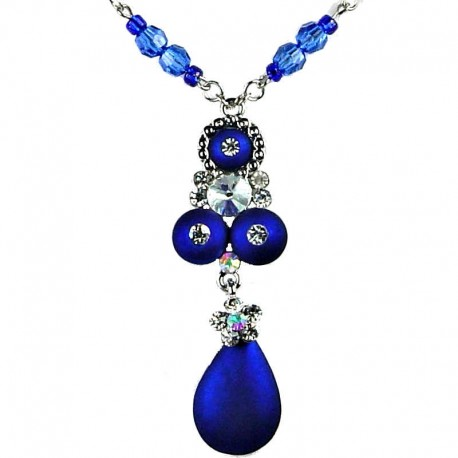 Fashion women Jewellery, Elegant Royal Blue Teardrop Costume Necklace