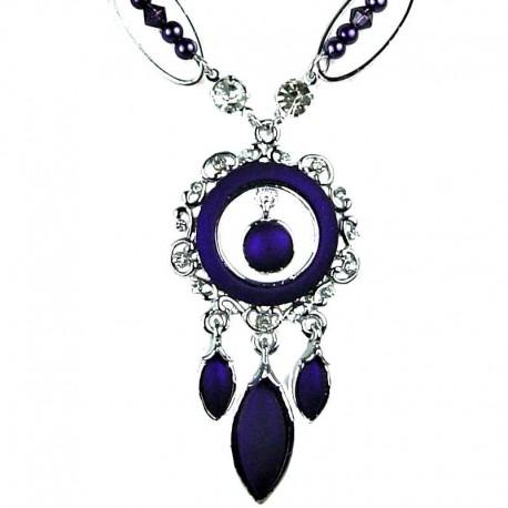 Fashion Women's Jewellery, Elegant Wave Circle Pendant Purple Teardrop Costume Necklace