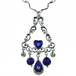 Elegant Wave Triangle Pendant Royal Blue Teardrop Necklace