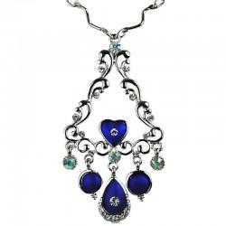 Elegant Wave Triangle Pendant Royal Blue Teardrop Necklace