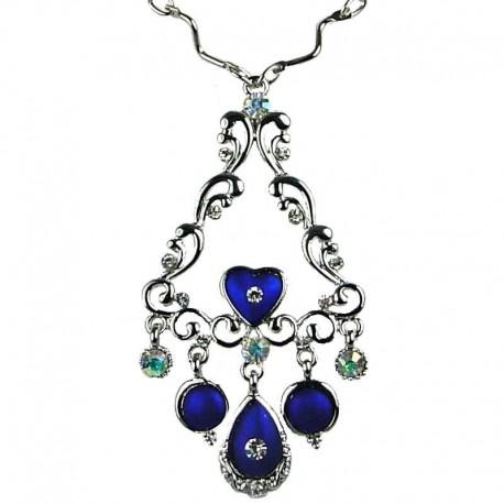 Women's Costume Jewellery, Fashion Elegant Wave Triangle Pendant Royal Blue Teardrop Necklace