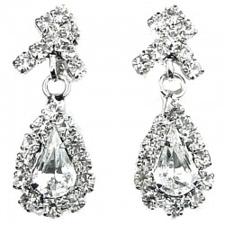 Bridal Jewellery, Wedding Gift, Fashion Clear Diamante Wave Dangling Teardrop Costume Earrings