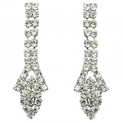 Bridal Costume Jewellery, Wedding Gift, Fashion Clear Diamante Pave Dangle Teardrop Earrings