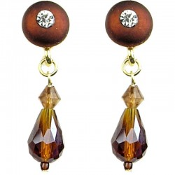 Women's Costume Jewellery, Fashion Brown Circle Faceted Glass Teardrop Bead Short Drop Earrings