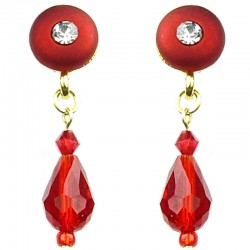 Fashion Women's Costume Jewellery, Red Circle Faceted Glass Teardrop Bead Short Drop Earrings