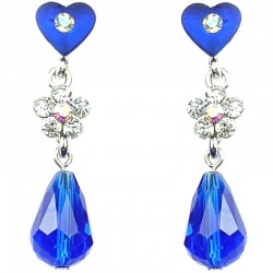 Women's costume Jewellery, Fashion Royal Blue Heart Flower Faceted Glass Teardrop Bead Drop Earrings