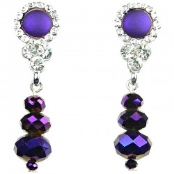 Women Costume Jewellery, Fashion Purple Circle Faceted Glass Bead Drop Earrings