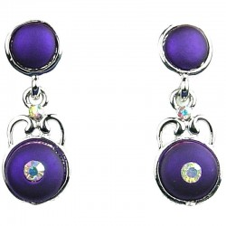 Womwn Costume Jewellery, Fashion Purple Double Circle Rhinestone Dainty Drop Earrings