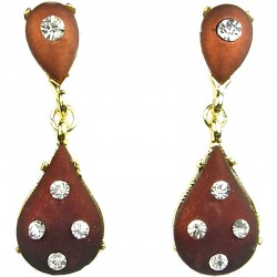 Women Costume Jewellery, Brown Double Teardrop Rhinestone Gold Plated Dressy Earrings