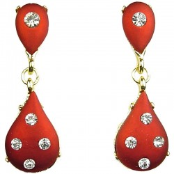 Women Fashion Jewellery, Red Double Teardrop Rhinestone Gold Plated Dressy Earrings
