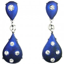 Women's Costume Jewellery, Royal Blue Double Teardrop Rhinestone Fashion Dressy Earrings