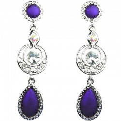 Women Costume Jewellery, Fashion Purple Teardrop Rhinestone Statement Long Drop Earrings