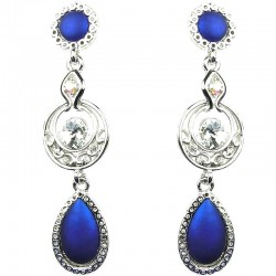 Women's Costume Jewellery, Royal Blue Double Teardrop Rhinestone Dressy Earrings