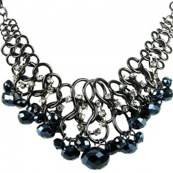 Cascade Charcoal Black Faceted Bead Chunky Chain Chandelier Statement Necklace