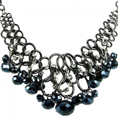 Fashion Bold Costume Jewellery, Cascade Charcoal Black Faceted Bead Chunky Chain Chandelier Statement Necklace